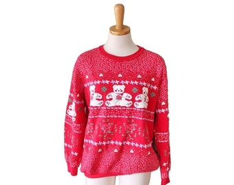 30% off sale // Vintage 80s Red Novelty Sweatshirt Women M - Teddy Bears, Roses, Pinwheels, Ugly Christmas Sweater