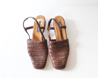 BLOWOUT 40% off sale Vintage 80s Huarache Sandals - Woven Brown Leather Women 7.5 Narrow - Sesto Meucci