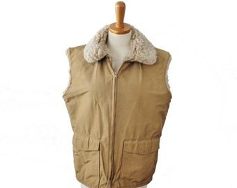 BLOWOUT 40% off sale Vintage 80s Woolrich Thermal Puffy Vest - Men M - 1980s tan, hunting