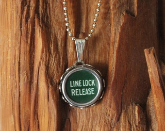 Green Line Lock Release Typewriter Key Necklace Pendant