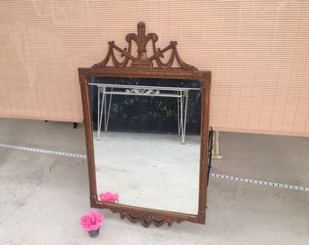 VINTAGE CARVED MIRROR / Gorgeous Ornate Mirror / Carved Wood / Rococo Hollywood Regency Style Mirror / 45 Inches Tall at Retro Daisy Girl