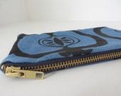 indigo dyed zipper pouch