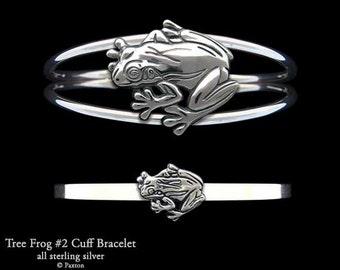 Tree Frog #2 Bracelet Sterling Silver Tree Frog Cuff Bracelet Handmade