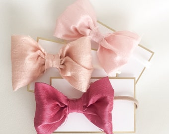 Newborn Baby Bow Headband 100% Raw Silk