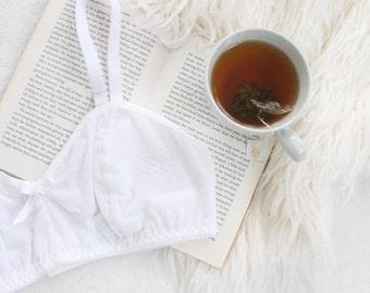 White Mesh 'Snowdrop' Soft Bra with Flocked Swiss Dot Polkadot Lined Bralette Handmade to Order