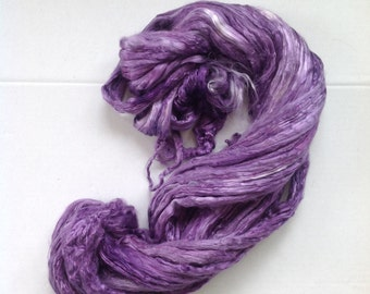 Roving MULBERRY SILK - LILAC -  hand dyed