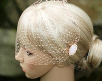 Blush Pastel Peach Soft Birdcage Veil Bandeau Style Blusher 9 inch French Net On Decorative Hair Combs
