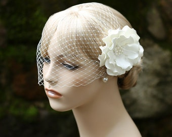 Birdcage Veil And Flower Hair Clip Set Bridal Hair Clip Bandeau Style Veil Wedding Headpiece