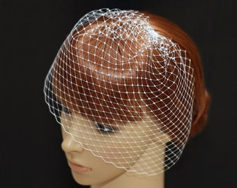 Bridal Wedge Veil- Mini Birdcage Veil- Wedding Veil- White Off-white Champagne Veil- Hats Netting