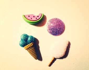Summer Fun Super Strong Magnet Set with Ice Cream Cone, Cotton Candy, Watermelon