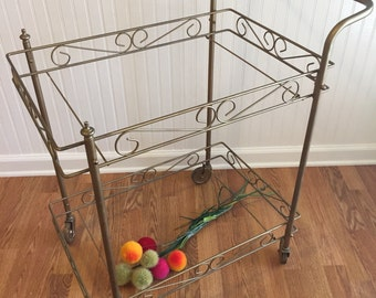 VINTAGE GOLD BAR Cart, Just Add Glass and Glasses! Mid Century, Hollywood Regency at Modern Logic