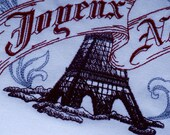 Regal Kitchen Dish Towel Embroidered With A Delicately Drawn Eiffel Tower Joyeux Noel