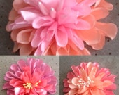 Dahlia Flowers Satin Handmade - Available in Three Sizes - any Colors to match your gown or Wedding Colors