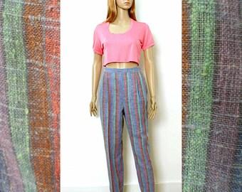 Vintage 1980s Pleated Slacks Pastel Stripe High Waist Trousers Pants / Small