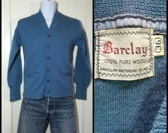 1940's Barclay pure wool thin knit workwear Cardigan Chore work Sweater size 36 looks XS Grayish Blue
