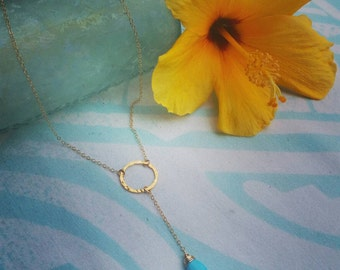 Simple gold and turquoise lariat necklace