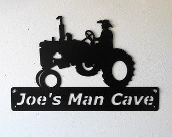 Personalized - Farm Tractor - Man Cave - Barn - Garage Sign -Satin Black