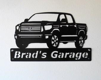 Personalized Man Cave Toyota Tundra Truck Garage Sign Satin Black