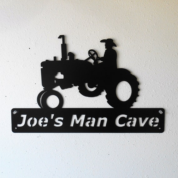 Personalized - Farm Tractor - Man Cave - Barn - Garage Sign -Satin Black