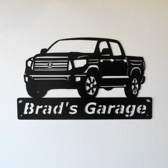 Personalized Man Cave Toyota Tundra Truck Garage Sign Satin Black