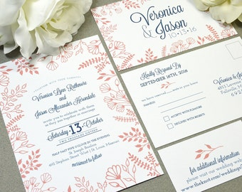 Forest Floral Wedding Invitations Coral and Navy Wedding Pocket Invite Rustic Wedding Invitation Suite Leaf Wedding Invites Outdoor Wedding