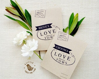 """Kraft Vow Books. """"Stamped"""" wedding vow books. Bride and Groom Love vow books. Wedding ceremony. VB531"""