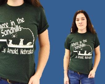 Vintage t-shirt hipster tee funny random Sandhills Arnold Nebraska green IngridIceland vtg small