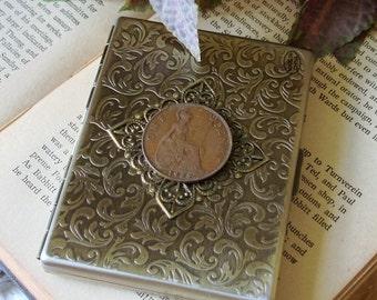 Metal Cigarette Case Steampunk Card Case 1935 British Penny Metal Wallet Business Card Case Cash Stash
