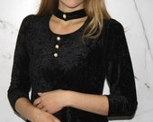 Vintage Black Velvet Babydoll Top with Choker and Pearl Buttons