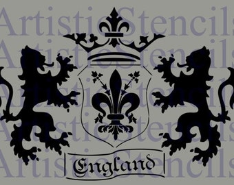 STENCIL English Coat of Arms  10x14.3