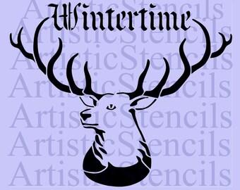STENCIL Wintertime Deer    10x12