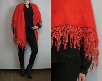 80s ANGORA DRIPPING LACE Vintage Cherry Red Rabbit Hair Fur Wool Embroidered Lined Shawl Cape Jacket Poncho s m l One Size 1980s