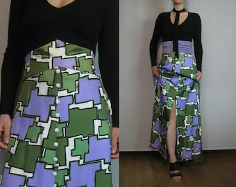 60s Abstract PUZZLE Piece Shapes MAXI Skirt Vintage Lilac Purple Emerald Green High Waist Skirt Small s/m 1960s 1970s