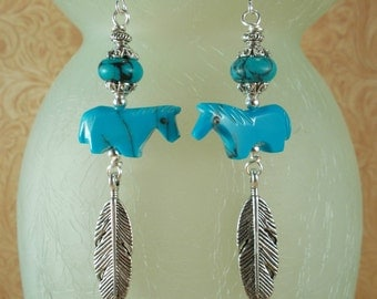 Rodeo Cowgirl Earrings - Southwest Style Carved Sky Blue Howlite Turquoise Horse Fetish Beads