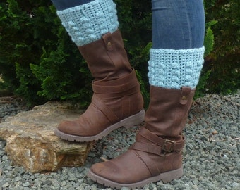 BOOT CUFF / boot topper . Alpaca and Wool blend ' Winter Sky''.ready to ship.....UK seller....