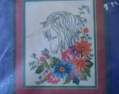 Vintage Unicorn Crewel Kit Unopened Unused Something Special 8x10 Made in USA 1980 Design 40071 Wool Cotton