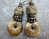Rage against the Machine artisan earrings RaggedRobyn pottery beads bronze disc tribal boho mixed metals rustic  jewelry assemblage