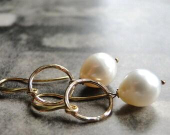 Freshwater Pearl Earrings, 14k Gold Filled Rings, Pearl Earrings, Statement Earrings, Creamy White Pearls, Accessories, Jewelry