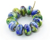 Sheribeads Glass Beads 12 Wide Open Spaces Watercolor Blue Green Spacers Lampwork