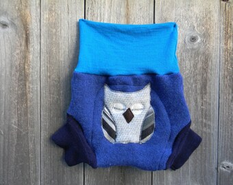 Upcycled Wool Soaker Cover Diaper Cover With Added Doubler Blue And Teal With Owl Applique LARGE 12-24M Kidsgogreen