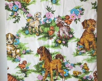 Sale...Absolutely adorable vintage Character Novelty 1960's 70's Nursery Curtains / puppies / Ponies / Lambs / Kittens