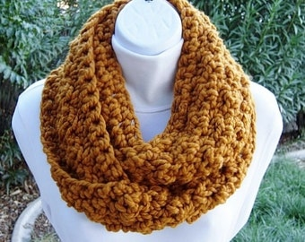 INFINITY SCARF Loop Cowl Butterscotch Dark Yellow Orange, Color Options, Bulky Soft Wool Blend Crochet Knit Circle..Ready to Ship in 2 Days