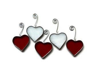 Stained Glass Hearts - Set of 5 in Red & White Suncatchers