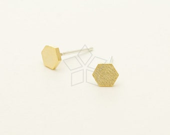 SI-730-GD / 2 Pcs - Dainty Geometric Hexagon Studs Earrings, Gold Plated over Brass, with .925 Sterling Silver Post / 4.7mm x 5.3mm