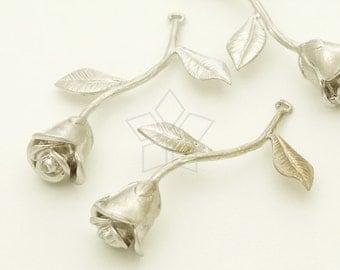 PD-1326-MS / 2 Pcs - Rose Stem Pendant, Long Flower Pendant, Matte Silver Plated over Brass / 38mm