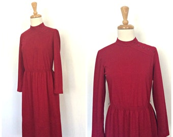 Vintage 70s Dress - burgundy dress - Leslie Fay - long sleeve - fall fashion - knee length - long sleeve - work dress - medium