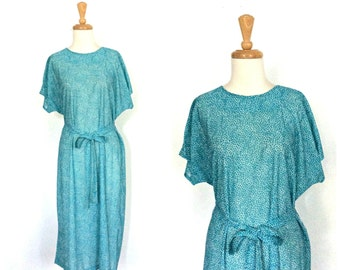 Vintage 70s Shift Dress - 1970s dress - sheath - summer dress - California Looks - green dress - L