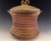 Pottery Jar, Wood Fired Stoneware, Lidded Storage Jar, (Cookies, Flour, Treats) Holds 7-8 Cups.
