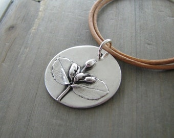 Unfolding,  Fine Silver Pendant, Natural Plant Reproduction, Wildflowers, Handmade by SilverWishes with Recycled Silver