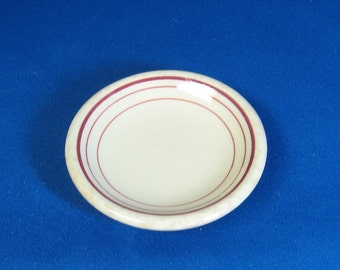 Carr China Restaurant Ware Butter Pat,  Tan with Burgundy Stripes Around the Outer Rim